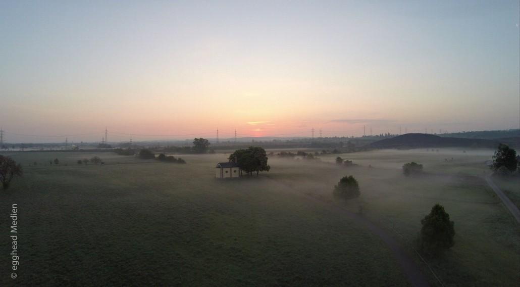 Luftbild Forst Wiesenkapelle Nebel Sonnenaufgang
