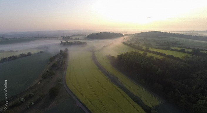 Luftbild Landschaft Rapsfelder Nebel