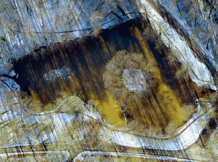 Luftbild Oberoewisheim Pfannweldsee Winter