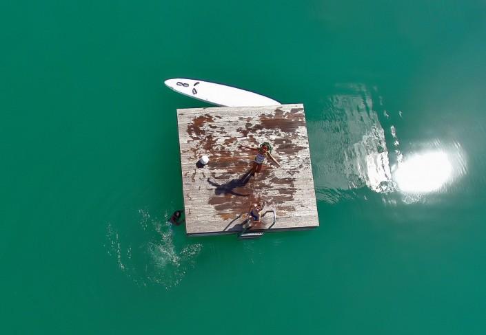 Luftbild See Insel Kinder