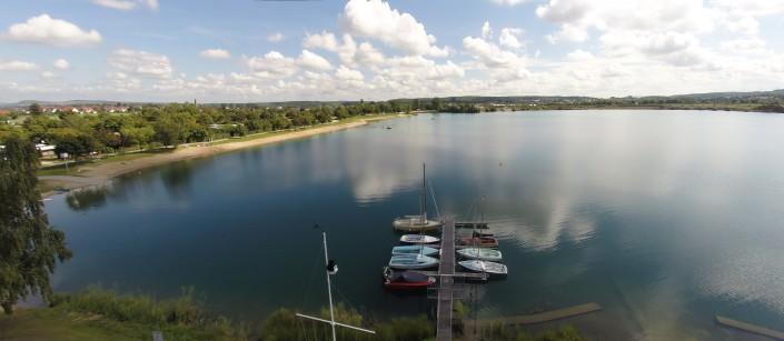 Luftbild See Boote Anlegestelle