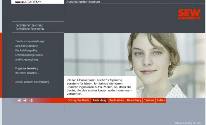 SEW Ausbildung Website Screenshot