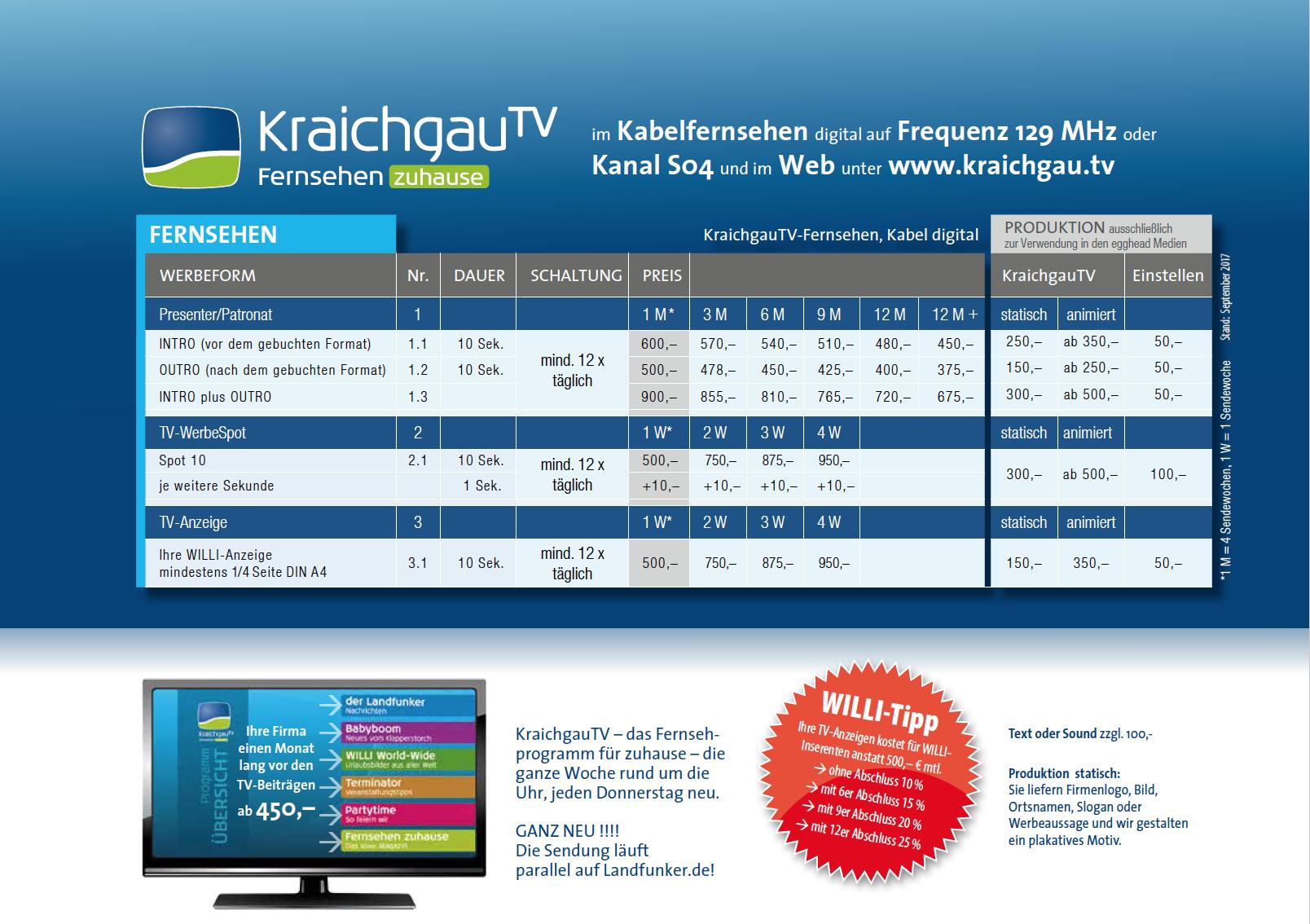 Was kostet Werbung auf KraichgauTV?